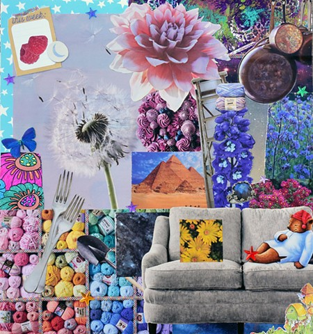 mixed media collage on paper rasberries flowers copper pots dandelions cake frosting sleepy time tea bear forks pyramids couch birdhouses daisys labradorite ladders ring outer space duct tape ephemera mono-printing acrylic stars by Holly Campbell