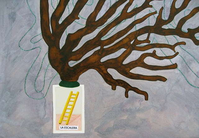 mixed media drawing of loteria card la escalera ladder glitter glue butterfly coral branch watercolor by Holly Campbell