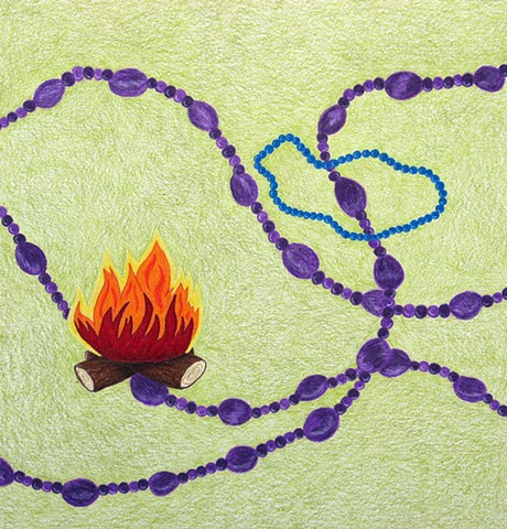 drawing color pencil purple coral beads blue beads campfire by Holly Campbell