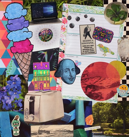 mixed-media collage on paper with shakespear's head ice cream cone toaster prayer box Squidward miscellaneous papers stickers and ephemera on paper by Holly Campbell