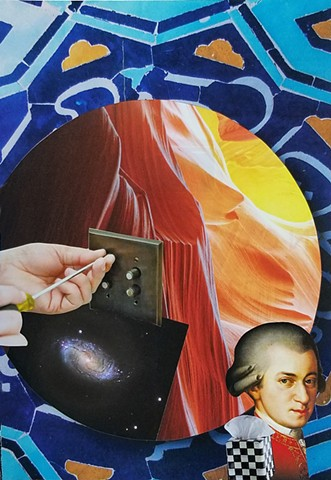 mixed-media collage on paper with Mozart an electrical outlet antelope slotted canyon middle eastern background by Holly Campbell