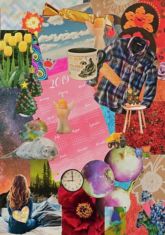 contemporary collage on paper, ephemera, papers, Sherlock Holmes, coffee mug, flannel shirts, yellow tulips, sleeping seals, angel candles, hearts, nothern lights, 2019 calendar, turnips, Daniel Tiger, Van Gogh's irises, trolls, clocks, red flowers, blue