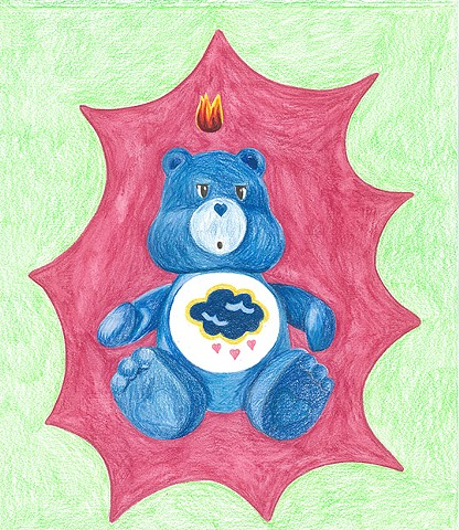 color pencil drawing on paper grumpy bear care bear with pentecostal flame by Holly Campbell