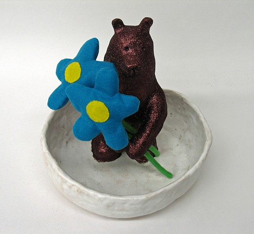 ceramic bear sculpture felt mixed media flowers glittered in ceramic bowl collaborative piece between Holly Campbell and Brad Dinsmore visual artists