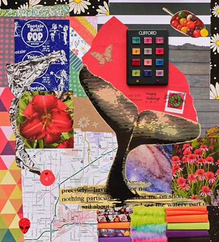 mixed-media collage on paper of tootsie pop wrappers envelope garage door opener map of Illinois whale tail stacks of fabric triangle paper cosmos flowers and daisy duct tape by Holly Campbell
