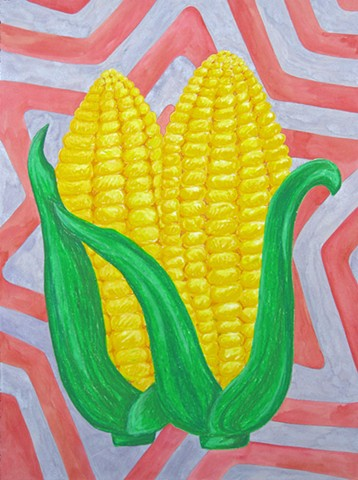 Every Good and Perfect Gift is From Above. - James 1:17 oil pastel corn ears drawing on paper with radiation star pattered background by Holly Campbell