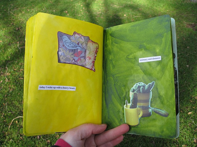 2012 sketchbook project yellow green pages cactus memories bird pillows intimacy and distance by Holly campbell