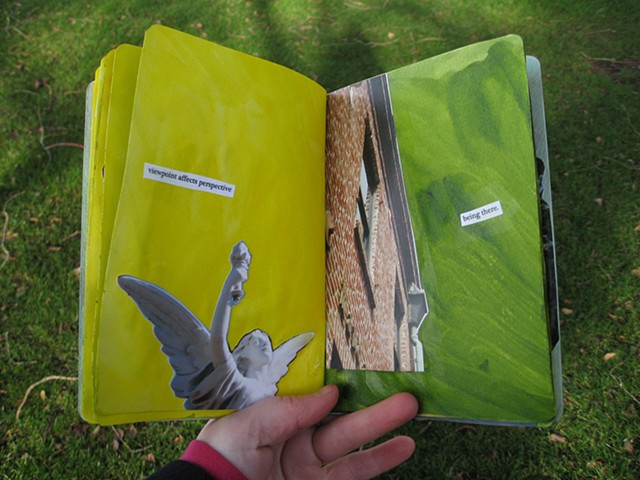 2012 sketchbook project angel sculpture and san francisco building being there yellow green pages by Holly Campbell