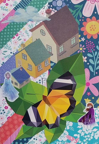 mixed-media collage on paper with Frozen stickers a butterfly houses and a floral background by Holly Campbell