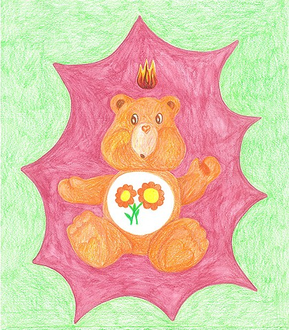 color pencil drawing on paper friendship bear care bear with pentecostal flame by Holly Campbell
