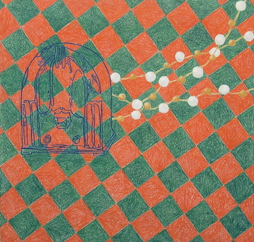 drawing color pencil strung pearls outline early twentieth century radio checkerboard background by Holly Campbell