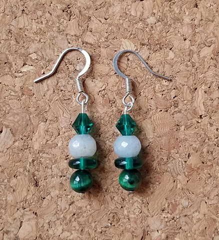 earrings made with green tiger eye, angelite and glass beads with stainless steel ear hooks