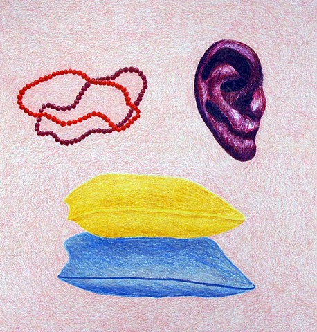 drawing color pencil beads orange maroon necklaces bracelets purple ear ear yellow blue pillows by Holly Campbell