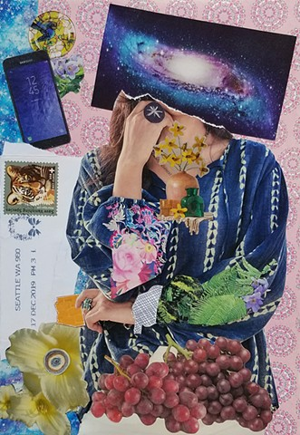 mixed-media collage on paper with tiger stamp red grapes pink mandala patterened background samsumg galaxy phone and woman with a galaxy for a head by Holly Campbell