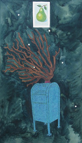 mixed media drawing on paper green pear loteria card coral branch blue glittered mailbox conctellation in night sky by Holly Campbell