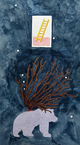 mixed media drawing on paper ladder loteria card coral branch glitter lavendar bear constellation in night sky by Holly Campbell