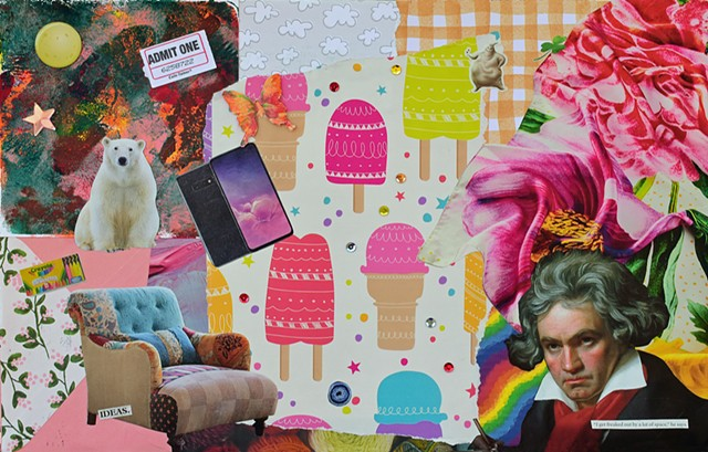 Beethoven, Samsung galaxy polar bear, full moon, met scarf, gold gingham patterm, ice cream cones, butterflies, mono-printing, comfy chairs crayola chalk sequins, yarn, clouds envelopes, mixed-media collage on paper