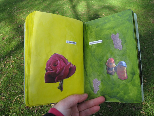 2012 sketchbook project rose in the middle angels glowbug toys green yellow pages by Holly Campbell