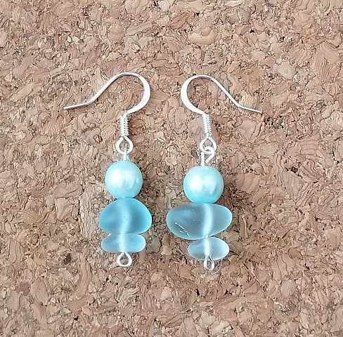 earrings sky blue sea glass and pearl with sterling silver plated ear hooks by Holly Campbell