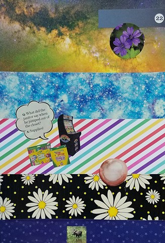 mixed-media collage on paper with daisies outer space Galaxia arcade game crayola colored pencils markers ball moose stars and rainbow stripes by Holly Campbell