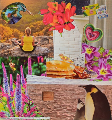 mixed-media collage on paper with ephemera miscellaneous papers stickers and text penguins sand pancakes peppers bathtub meditating lady in nature by Holly Campbell