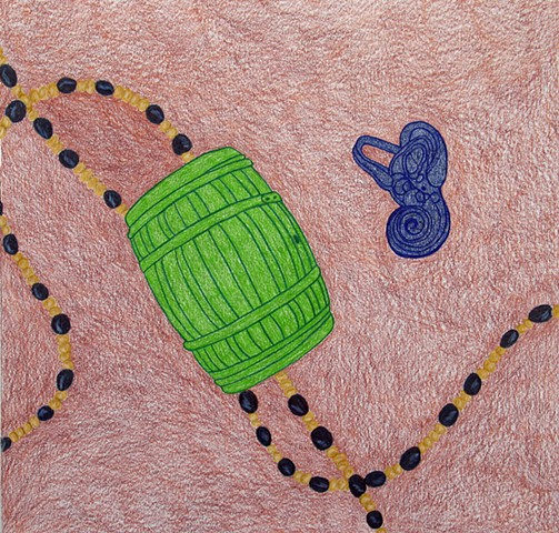 drawing color pencil strung beads green barrel blue violet inner ear ear drum by Holly Campbell