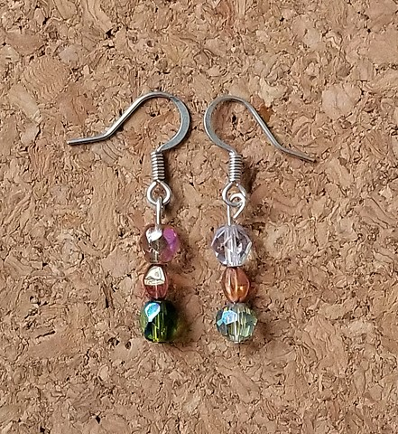 earrings made with faceted glass beads with stainless steel ear hooks