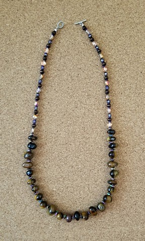 tiger-eye, hematite, glass and wood beaded necklace with silver plated toggle clasp