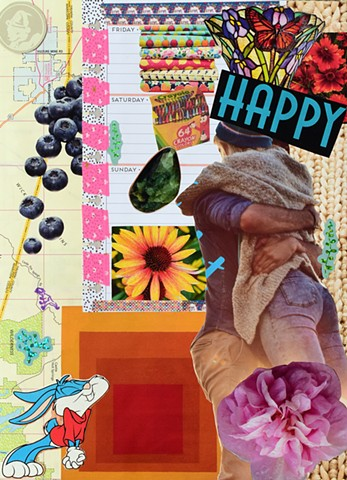 mixed-media contemporary collage on paper happy words crayola crayons 64 count butterfly stained glass fabric Friday Saturday Sunday calendar page blueberries sleepy-time tea bear green emerald seaweed brown eyes by Holly Campbell