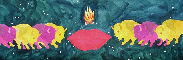 mixed media drawing on paper multiple rainbow colored bison large lips campfire outer space by Holly Campbell