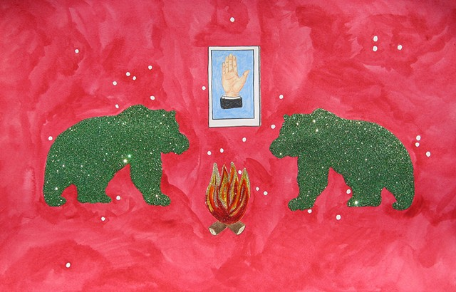 mixed media drawing on paper two bears campfire la mano loteria card in outer space by Holly Campbell