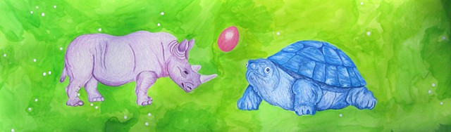 mixed media drawing on paper purple rhino blue tortoise pink egg in outer space by Holly Campbell