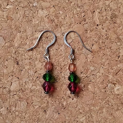 earrings made with multi-color seed beads, Czech glass with stainless steel ear hooks