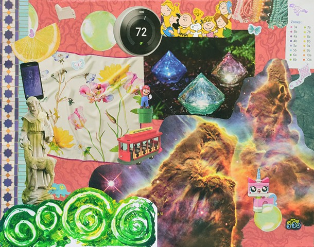 mixed-media collage on paper, ephemera, papers, mono-printing, hubble image, st. francis green waves, monoprint collage with kite sticker