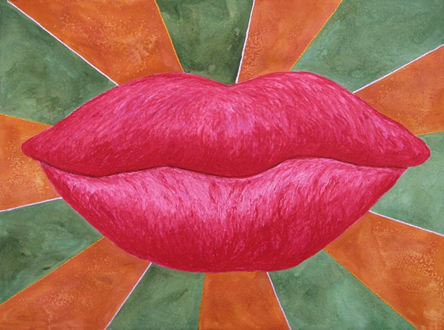 Every Good and Perfect Gift is From Above. - James 1:17 Large lips oil pastel drawing on paper magikist with radiating glitter glue lines by Holly Campbell