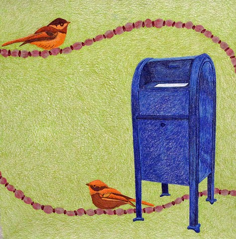 drawing color pencil strung pink red beads birds blue mailbox by Holly Campbell