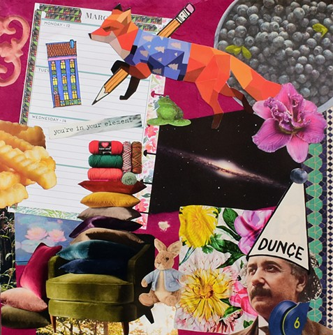 collage on paper Albert Einstein cubic redfox pencil green velvet chair peter rabbit and blueberries by Holly Campbell