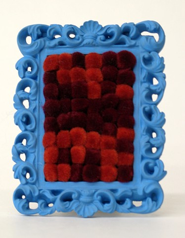 sculpture found picture frames painted sky blue with rust maroon pom poms by Holly Campbell