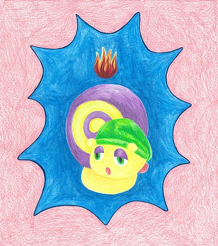 color pencil drawing on paper glow snail with pentecostal flame by Holly Campbell