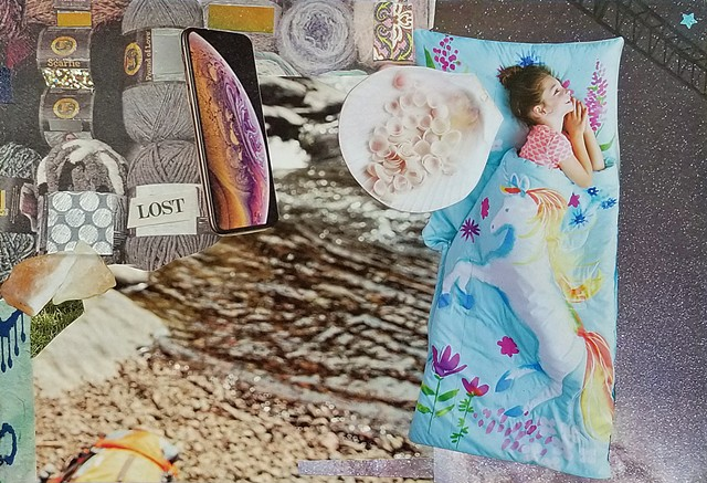 mixed-media collage on paper with girl in sleeping bag river bed canoe shells samsung galaxy phone yarn and millions of stars in the sky by Holly Campbell