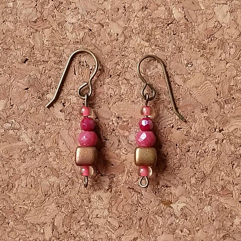 earrings raspberry colored coral Czech glass with genuine brass ear hooks by Holly Campbell
