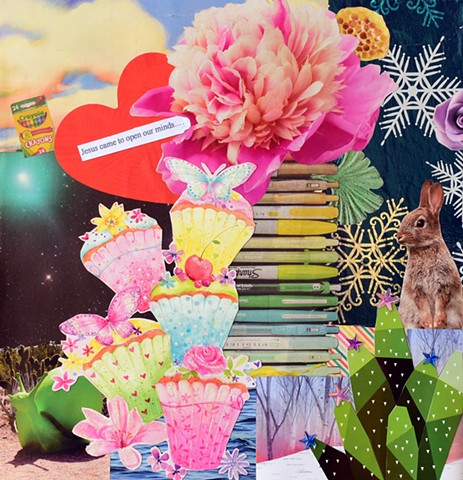 contemporary collage on paper various papers ephemera mixed-media collage with Jesus heart blooming pink flower snowflakes rabbit cupcakes butterflies a cactus with outerspace by Holly Campbell