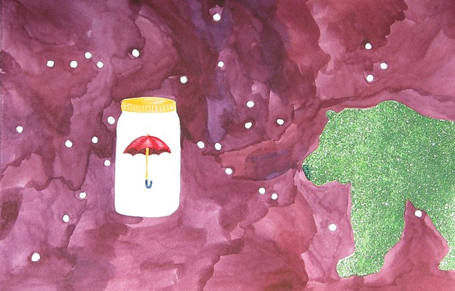 mixed media drawing on paper mason jar umbrella glittered bear in outer space by Holly Campbell