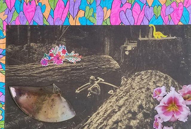 mixed-media collage on paper with broken CD dinosaur stickers pink flowers and a lumberjack with giant fallen trees from the Pacific Northwest by Holly Campbell