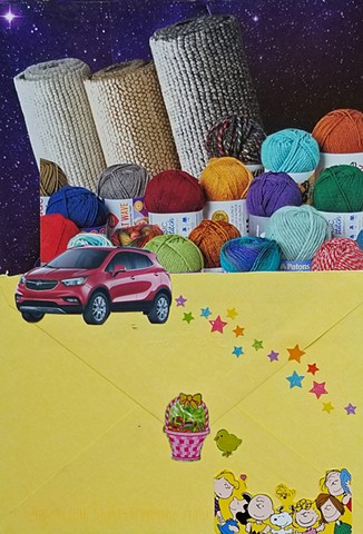 mixed-media collage on paper with a yellow envelope yarn rolled up carpets outer space background with glittery star stickers by Holly Campbell
