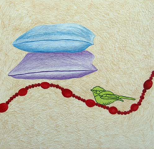 drawing color pencil strung red coral beads green bird pillows by Holly Campbell