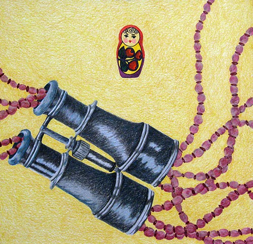 drawing color pencil pink red beads binoculars russian nesting doll by Holly Campbell