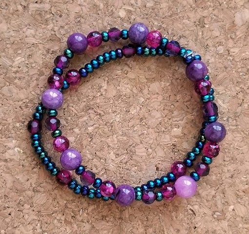 bracelet violet dyed quartzite seed glass acrylic and hematite beaded multi-strand bracelet by Holly Campbell