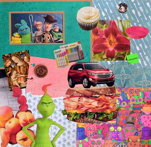 toy story 4, mother mary and baby jesus, red chevy trax, deli sandwich, owls, the grinch, peaches, rasberries, rainbow sharpies, cupcakes, tiger lilies, pink pool, organic, blue plates, arrows, unicorns, lowel observatory wall, mixed-media collage, contem