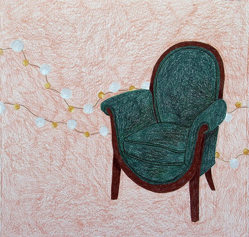 drawing color pencil green chair beaded pearls by Holly Campbell
